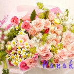ピンクふわふわ花束